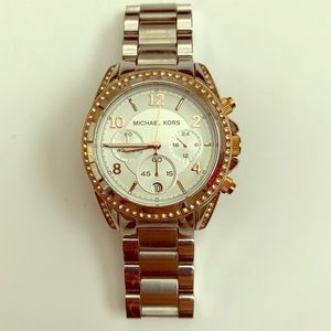 Michael Kors Silver and Rose Gold Crystal Watch